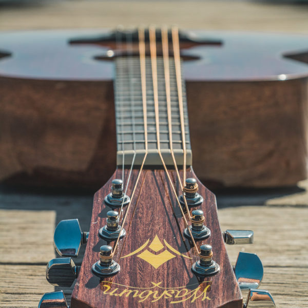head-on view of Washburn acoustic guitar
