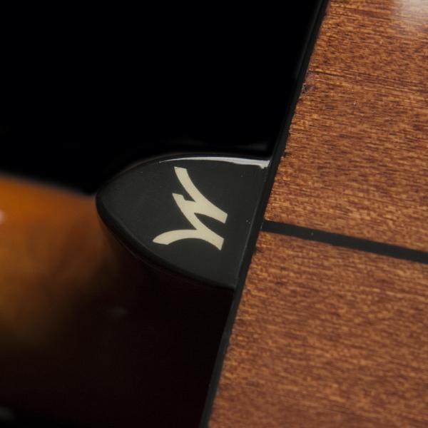 closeup of Washburn W on Washburn acoustic guitar