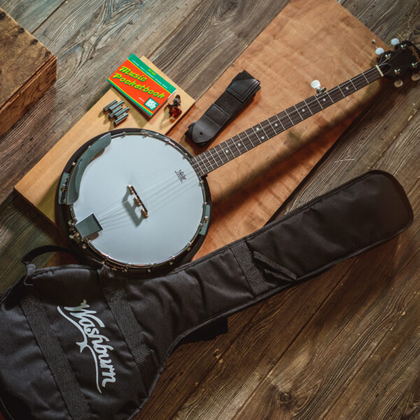 banjo with gig bag and accessories