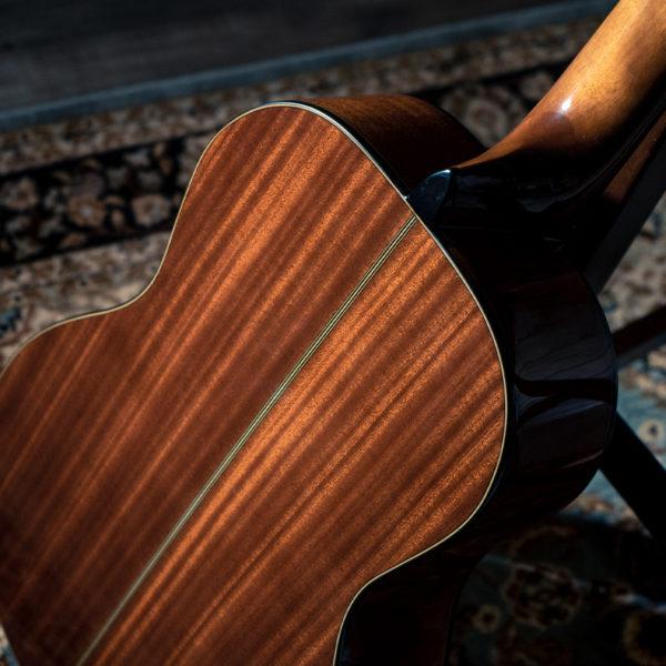 back of body of Washburn acoustic guitar