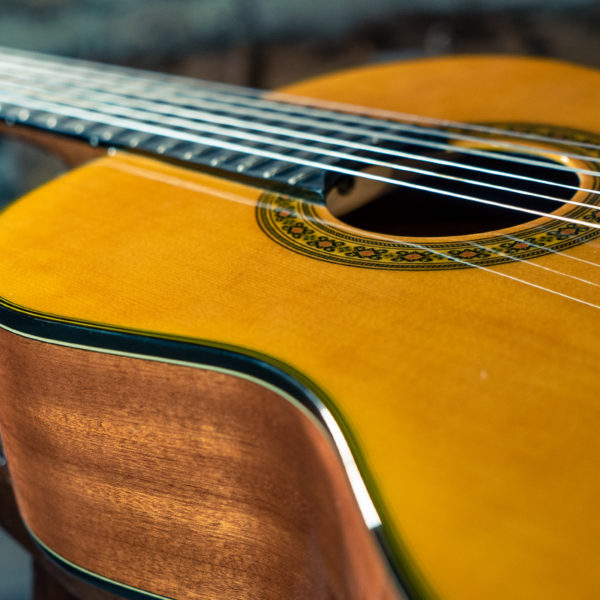 closeup of body of Washburn classical guitar