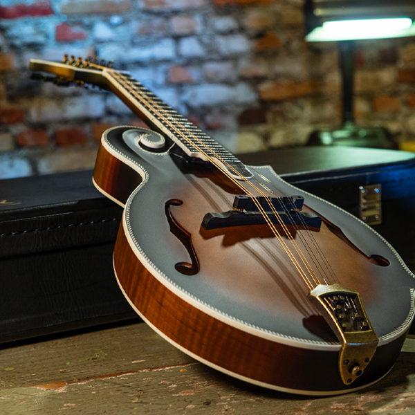Washburn mandolin leaning on case