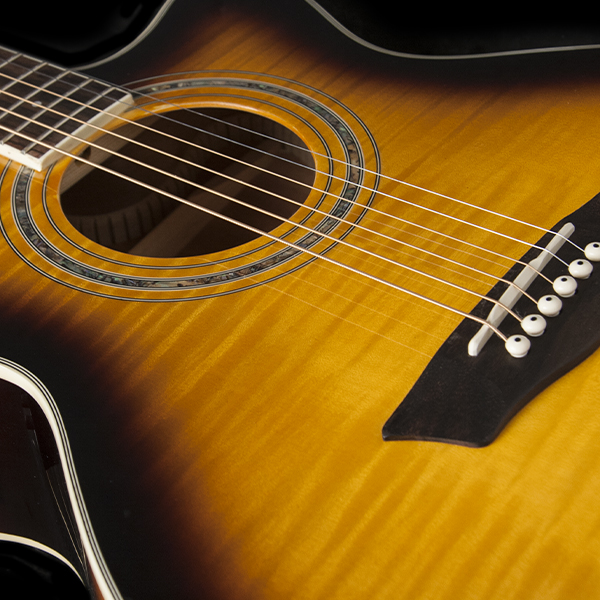 body of Washburn yellow burst acoustic guitar