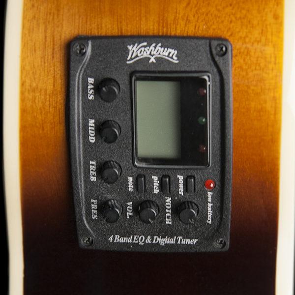 closeup of electronics on Washburn acoustic electric guitar