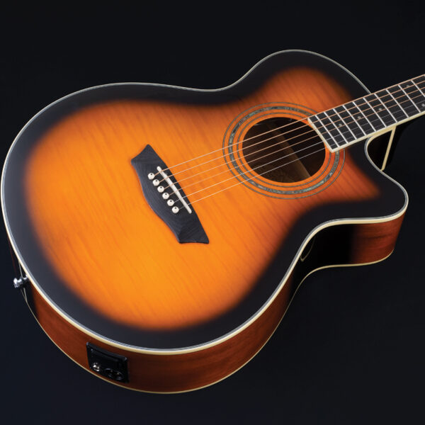 body of yellow acoustic guitar