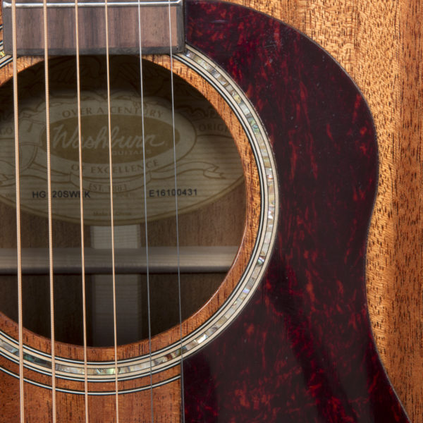 HG120SWEK heritage g120SWE close up of the sound hole, roseette and product tag