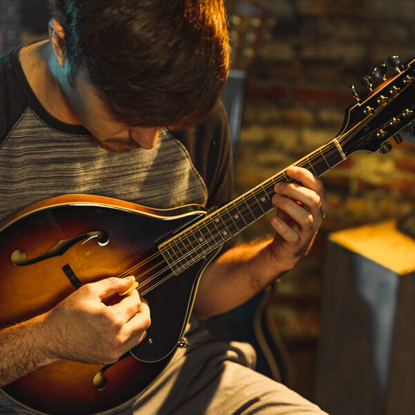 man playing mandolin