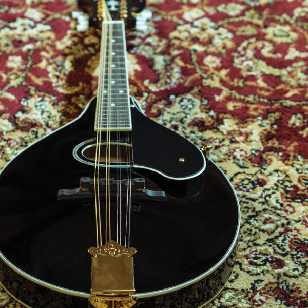 black mandolin on rug
