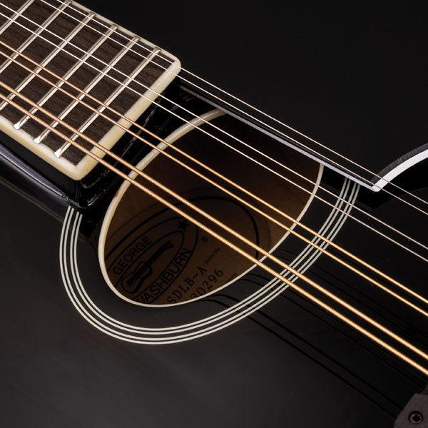 closeup of body of black mandolin
