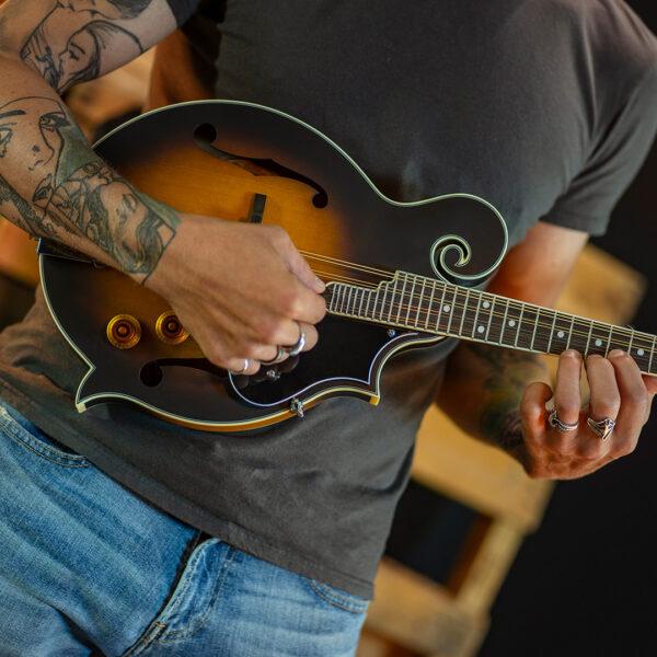 partial view of man playing mandolin