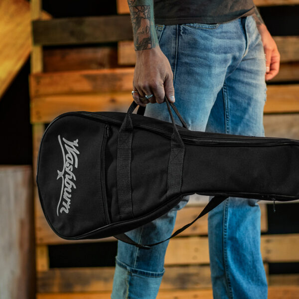 partial view of man holding gig bag