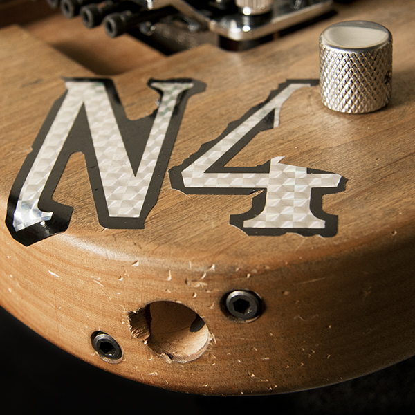 closeup of input on Washburn electric guitar