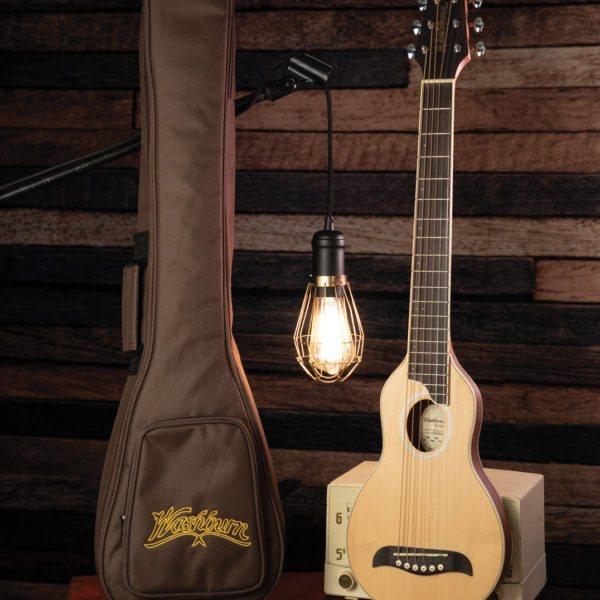 RO10SK Rover Travel Guitar and case with decorative lighting