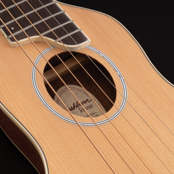 RO10SK Rover Travel Guitar close up of the sound hole and roseette