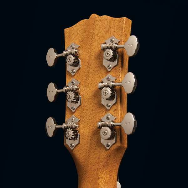 back of headstock of Washburn acoustic guitar