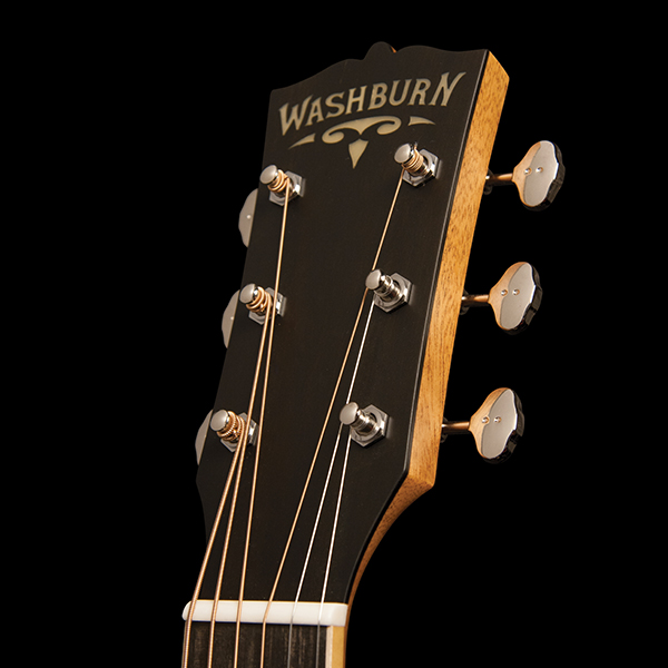 headstock of Washburn acoustic guitar