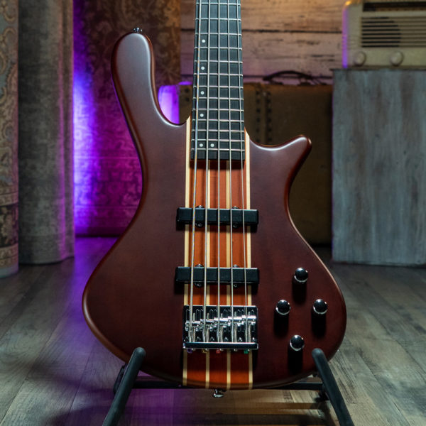 body of Washburn electric bass on stand
