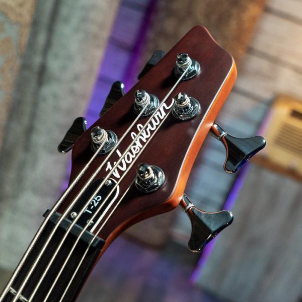 closeup of headstock of Washburn electric guitar
