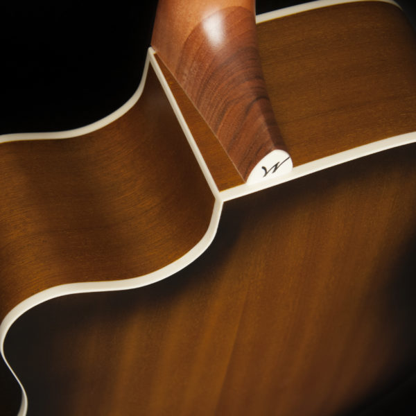WD7SCEATB Harvest D7SCE TB close up of the neck heel, cutaway and binding detail