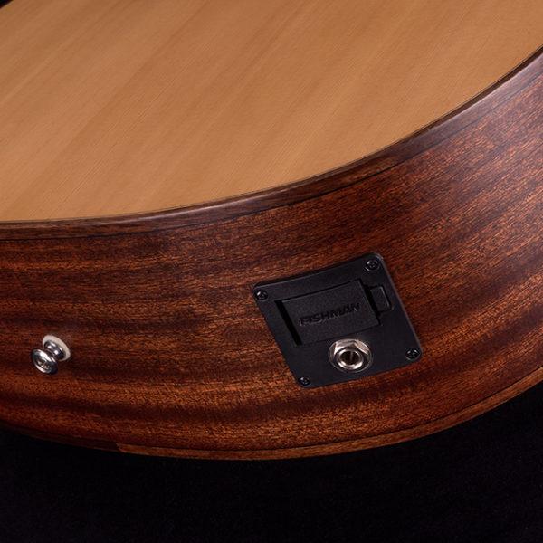 closeup of Fishman plug on acoustic guitar