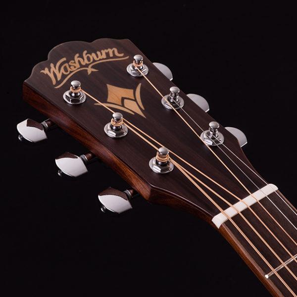headstock of Washburn acoustic guitar