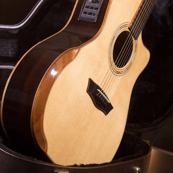 WCG25SCE guitar shown leaning on case