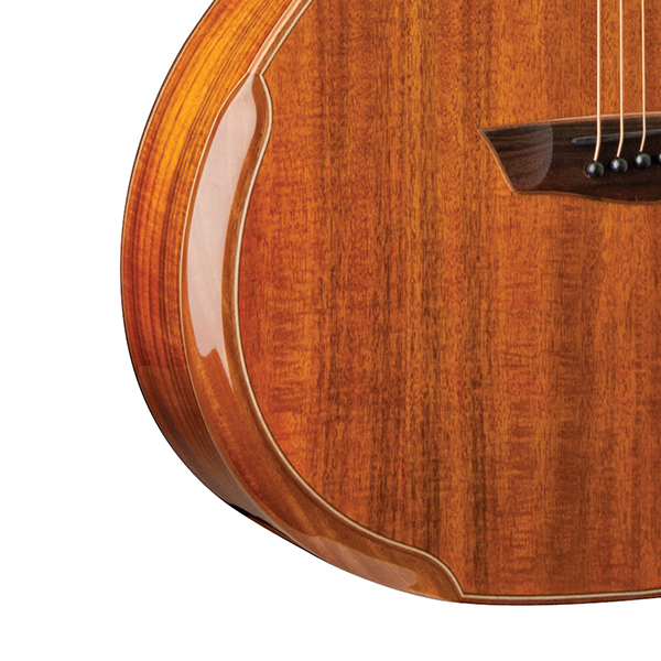 closeup fo bevel on Washburn acoustic guitar