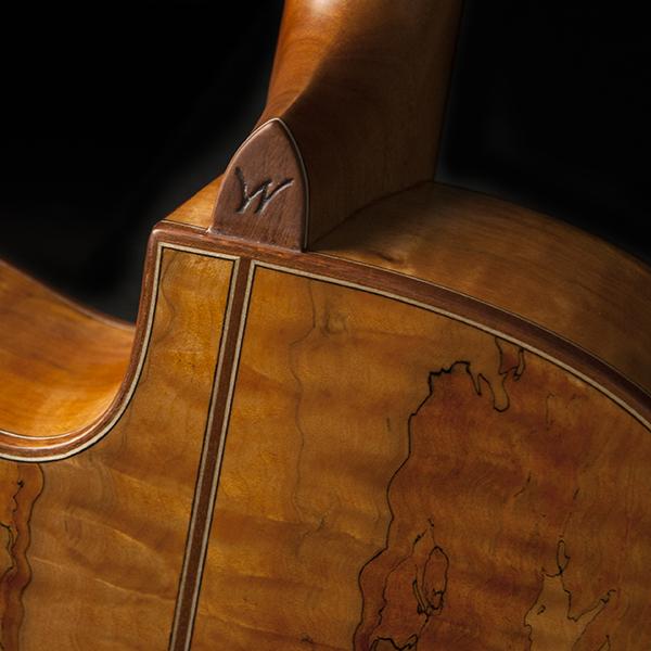 back of neck of Washburn acoustic guitar
