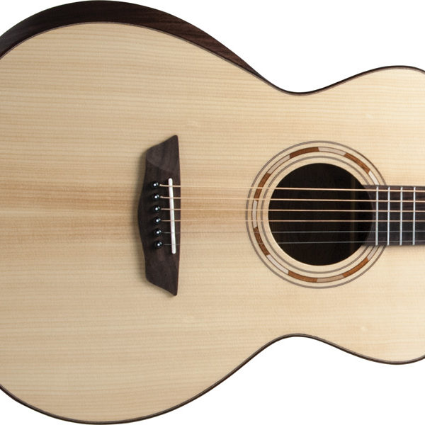 body of solid Sitka Spruce top Washburn acoustic guitar