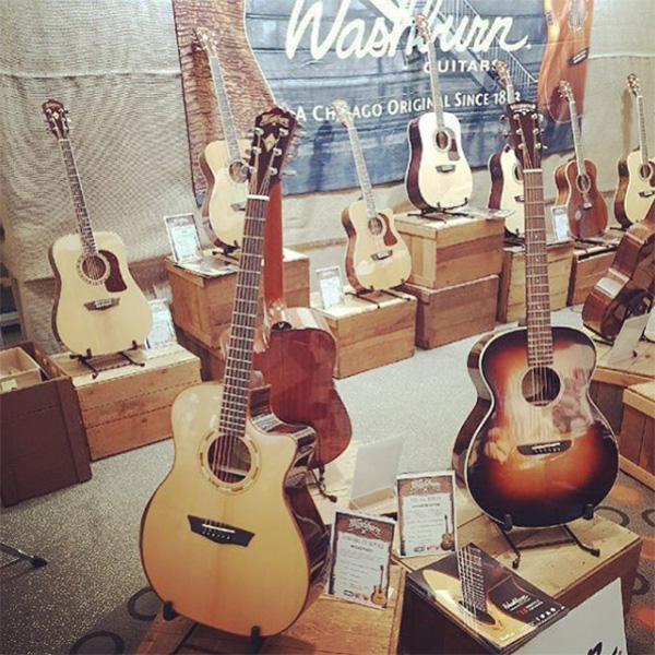 washburn retail display of acoustic guitars