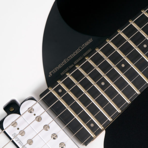 close up of stephens extended cutaway on a parallaxe david palau signature model M10FR