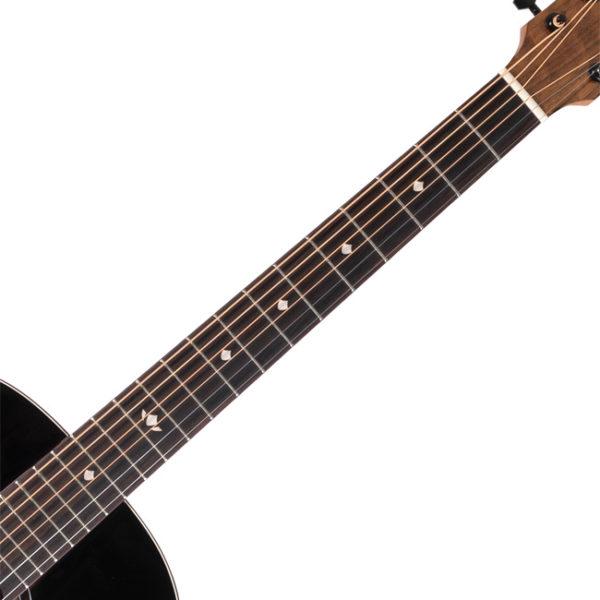 neck of black Washburn acoustic guitar