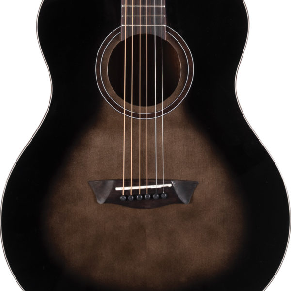 body of black Washburn acoustic guitar