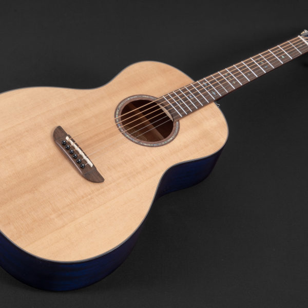 P33S Royal Sapphire Acoustic Parlor Guitar angled view of the top
