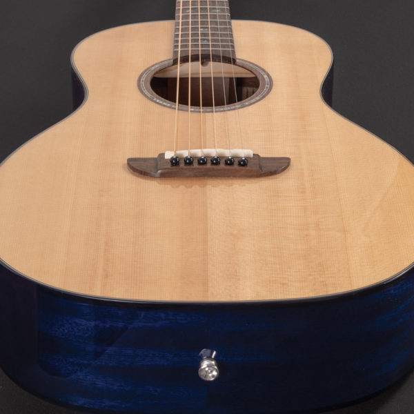 P33S Royal Sapphire Acoustic Parlor Guitar top view from the bottom