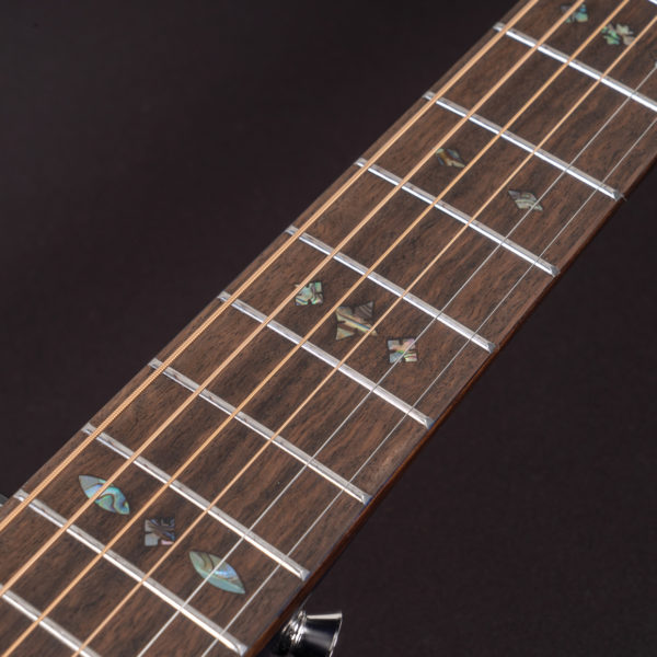 P33S Royal Sapphire Acoustic Parlor Guitar close up of fretboard inlay