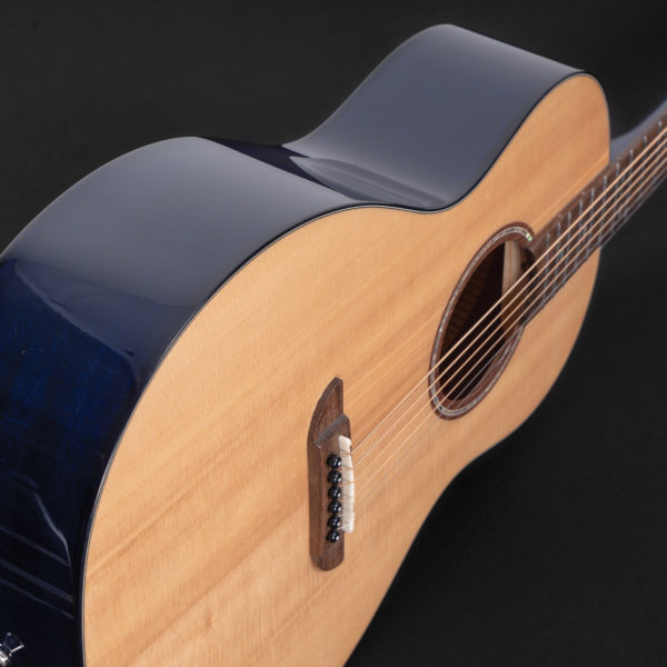 P33S Royal Sapphire Acoustic Parlor Guitar angled view of the top and side