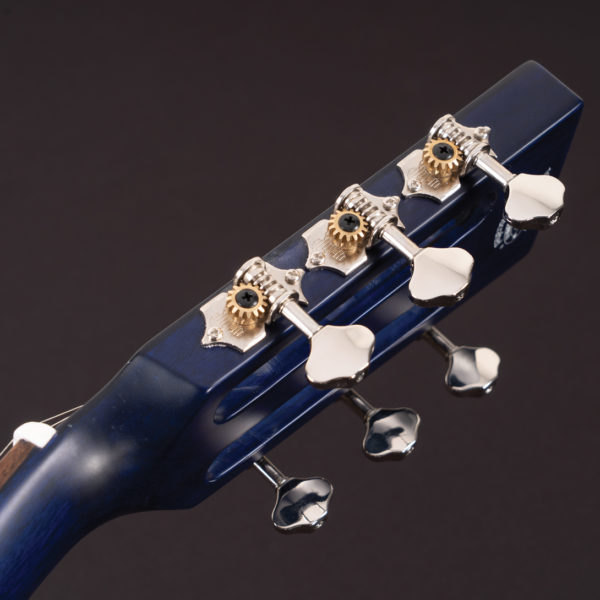 P33S Royal Sapphire Acoustic Parlor Guitar side view of the head stock