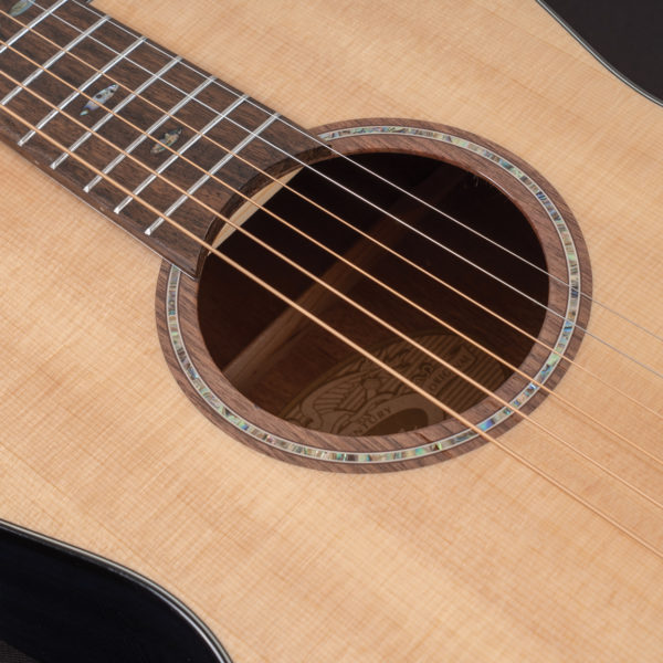 P33S Royal Sapphire Acoustic Parlor Guitar close up of the sound hole and roseette