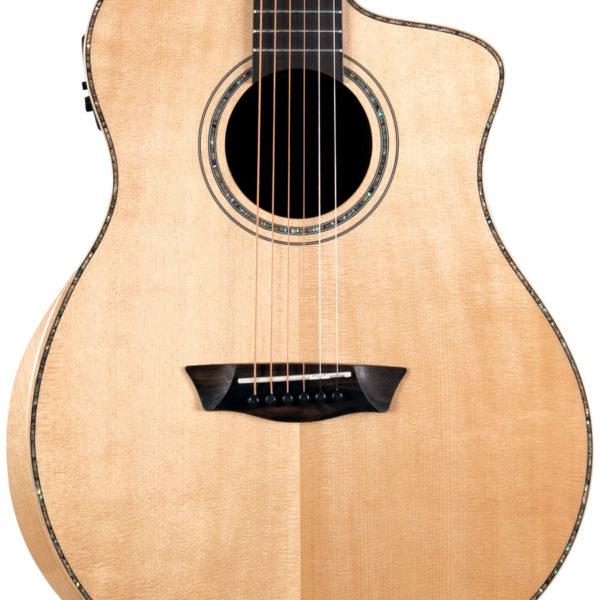 body of Washburn acoustic guitar with cutaway