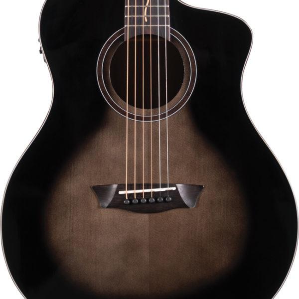 body of black Washburn acoustic guitar