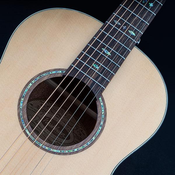 closeup of rosette on Washburn acoustic guitar