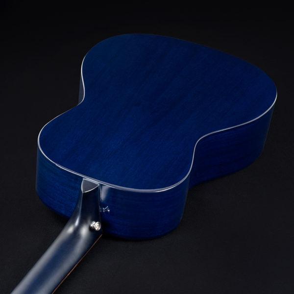 back of blue Washburn acoustic guitar