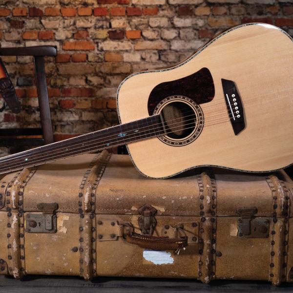 HD80S guitar glamor shot on vintage travel case