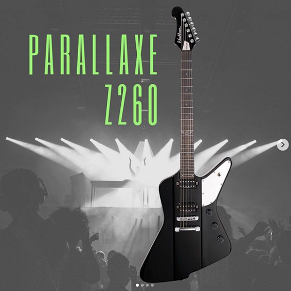 Washburn black and white Parallaxe Z260 electric guitar