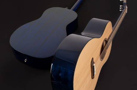 back and side view of Washburn Royal Sapphire acoustic guitar