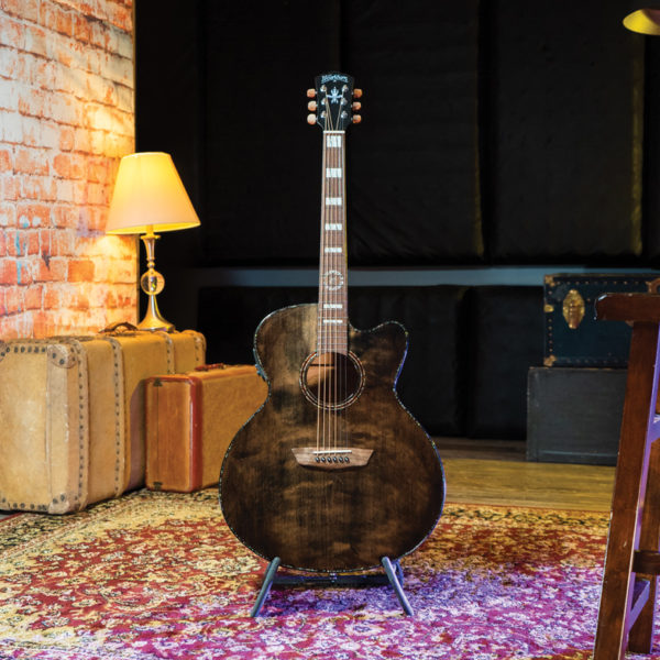 Washburn guitar on stand with vintage suitcases and lamp in background