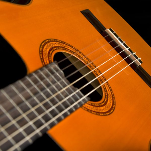 C5CE Classical Guitar close up of sound hole and roseette