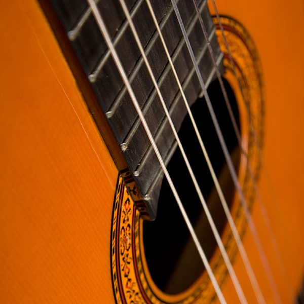C5 Classical Guitar close up of sound hole and roseette