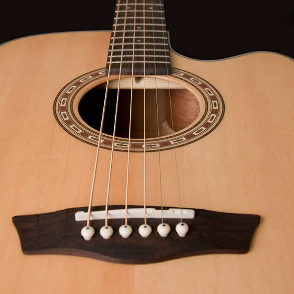 WD7SCE close up of the bridge and sound hole